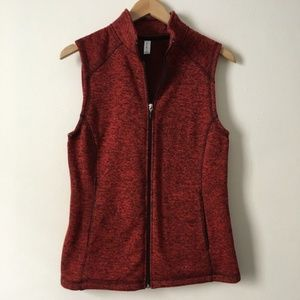 Jackets & Blazers - Deep Red Rustic Heathered Full Zip Layering Vest